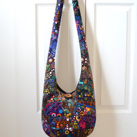 Hobo Bag, Crazy Quilt, Sling Bag, Patchwork, Bubbles, Rainbow, Colorful, Dots, Effervescence, Hippie Purse, Crossbody Bag