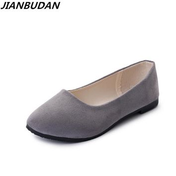 JIANBUDAN Women flat heels  spring and summer 2017 new casual flat shoes solid everyday shoes Ballet flat shoes size 35-43