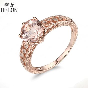 HELON Solid 10K Rose Gold 7.5-8mm Round Morganite Antique Natural Diamond Engagement Wedding Ring Art Deco Fine Jewelry Ring