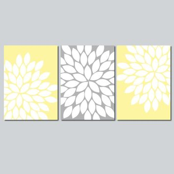 Flower Wall Art, Yellow Gray Bedroom Pictures, Nursery CANVAS or Prints, Yellow Gray Bathroom Decor, Flower Artwork, Set of 3 Artwork