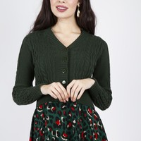 Forest Green Knit Cropped Cardigan