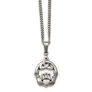 Stainless Steel Polished Trinity Knot and Claddagh Necklace 18in