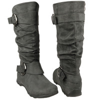 Womens Mid Calf Boots Loose Ruched Buckles Side Zipper Closure Gray SZ