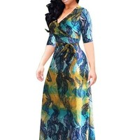 V Neck Plus Size Women's Maxi Dress
