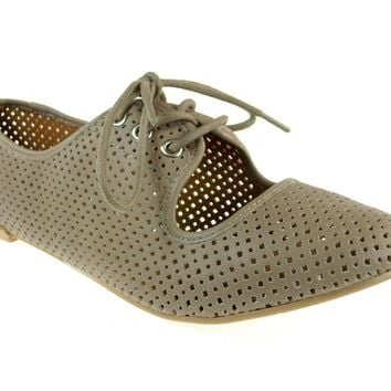 Women's Qupid Perforated Lace Up Flat Shoes Salya-747 Taupe