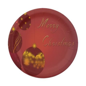 Red Merry Christmas Paper Plate