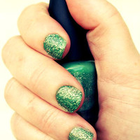 "Green and Gold Glitter Nail Polish - ""Mermaid"" - Only One Coat Needed, Long Wear"
