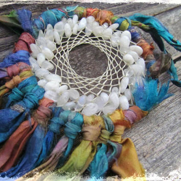 Rainbow DREAM CATCHER~Multi color Silk Sari~Boho MOONSTONE Dream Catcher~Gemstone Wall Hanging ~Healing Ornament~Mdogstudios~