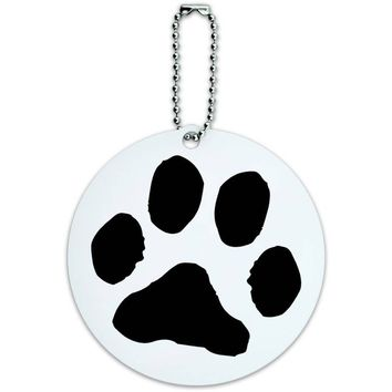 Paw Print Pet Dog Cat Round Luggage ID Tag Card for Suitcase or Carry-On