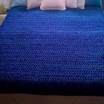 Blue Chrochet Afghan,Decor Accessory,Reading Nook Accessory,Luxurious Crochet Afghans for SALE,Persian Blue Lapis, Large Blue Weighty Throw