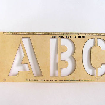 "Vintage Stencils - Original Package of EZ Letters Stencils 5"" Gothic Letters and Numbers"