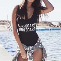 Letter Print Backless Beach One Piece Swimsuit Swimwear