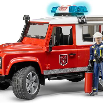 Bruder Toys Land Rover Defender Station Wagon Fire Department Car w Fireman NEW
