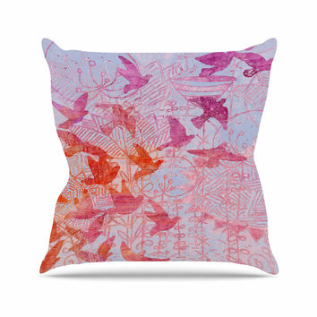 "Marianna Tankelevich ""Bird's Dream"" Lavendar Pink Outdoor Throw Pillow"