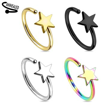 Star Titanium IP Nose Hoop Ring