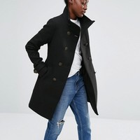Only Double Breasted Military A-line Coat at asos.com