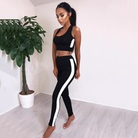 Striped Two Piece Sport Suit Women Yoga Set Crop Top Leggings Sexy Yoga Wear Fitness Track Suit Sportswear Tracksuit