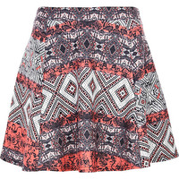 River Island Womens Red aztec puff print skater skirt