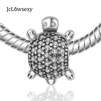 Authentic Original 925 Sterling Silver Charms Mini Little Turtle Crystal Animal Beads Fit Pandora Bracelets Necklace DIY Jewelry