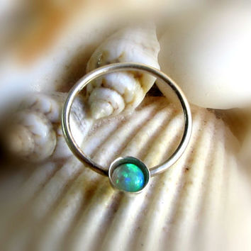 Green Opal Septum Ring, Opal Nose Ring, Septum Hoop, Opal Septum Piercing