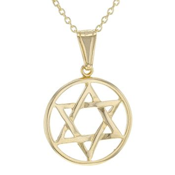 18k Gold Plated Star of David Charm Jewish Judaism Pendant Necklace 19""