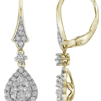 14kt Yellow Gold Womens Round Diamond Teardrop Cluster Dangle Earrings 3/4 Cttw