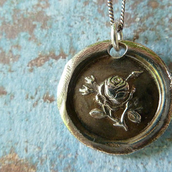 Rose Wax Seal Necklace. Wax Seal Jewelry in Recycled Fine Silver. Love Symbol