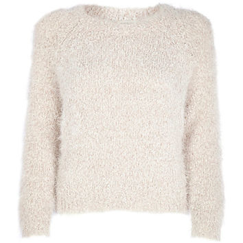 River Island Womens Cream fluffy knit cropped sweater