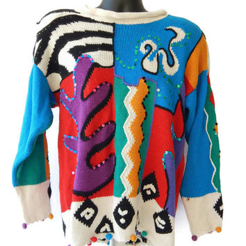Crazy Sweater Women's Large Multi Color Pom Pom's Sequins Slouchy Designer