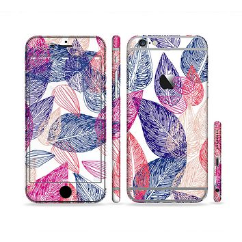 The Seamless Pink & Blue Color Leaves Sectioned Skin Series for the Apple iPhone6s Plus