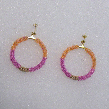 Beaded Hoop Earrings With Preciosa Czech Seed Beads