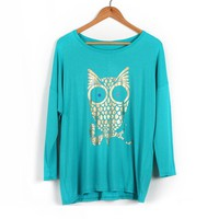 ZLYC Fashionable Scoop Neck OWL Pattern Batwing Sleeve Column T-Shirt For Women