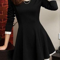 Black Long Sleeve Lace Lining Skater Dress