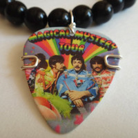 Black Beaded Bracelet with The Beatles Magical Mystery Tour Guitar Pick