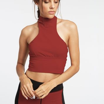 Michi Extension Cropped Halter Top - Burnt Sienna