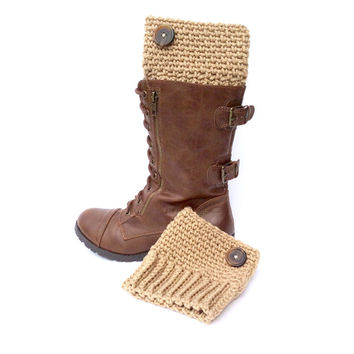 Tan Boot Cuffs with Brown Decorative Button, Beige Leg Warmers with Tortoise Shell Style Button