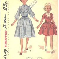 Vintage 1950s Girls Knee Length Dress with Gathered Skirt Simplicity Sewing Pattern 3374 Bust 26