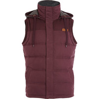 River Island MensDark red casual padded vest