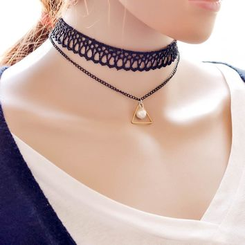 Jewelry Shiny Gift New Velvet Arrival Pendant pearl Crochet Stylish Ladies Lace Layered  Geometric Pendant Korean Chain Layered pearl Necklace [7786549191]