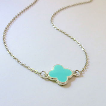 Mint Clover Necklace. Sterling Silver Clover Necklace.  Four Leaf Clover. Quatrefoil Pendant. Lucky Clover. Sterling Silver.