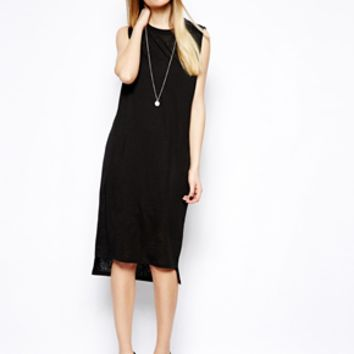 ASOS Midi Dress In Snake Burnout With Open Back
