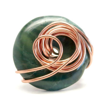 Jasper Ring 52 Green Donut Stone Wire Wrapped (Size 6)