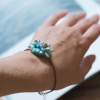 Mint bracelet - pastel jewelry - planter jewelry - succulent jewelry - succulent bracelet - eco-friendly bracelet - tropical jewelry, summer