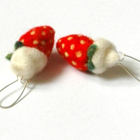Summer time jewelry- needle felted earrings - strawberries-red- white-ready to ship