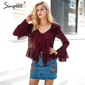 Sexy ruffle chiffon blouse shirt Autumn flare sleeve deep v neck women blouses Casual transparent street wear blouse