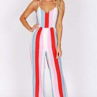 Vertical Striped Jumpsuit White/Multi
