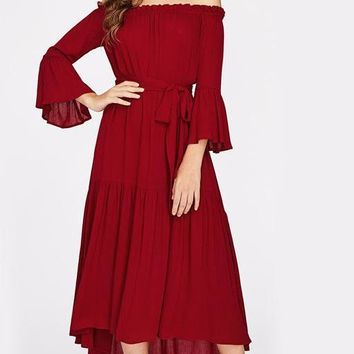 Burgundy Off the Shoulder Self Tie Fluted Sleeve Dress Women's Waist Tiered A Line Dress With Bow