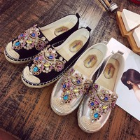 Women Casual Rhinestones Weave Single Shoes Loafer Shoes Flats Shoes
