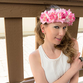 Pink White Cream Rose Flower Crown, Flower Headband, Festival Headband, Hippie Headband, Bohemian Headband, Kawaii Headband, Bridal Headband