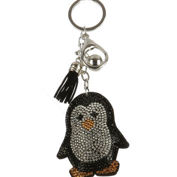 Black Stuffed Pillow Penguin Bag Accessory Key Chain